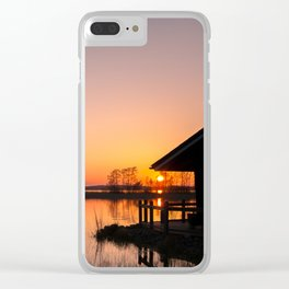 Sunset On A Calm Lake Clear iPhone Case