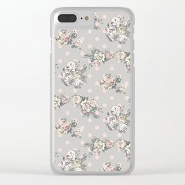 Vintage chic artistic pink ivory polka dots floral Clear iPhone Case