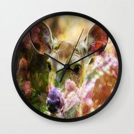 Fawn Peeking Through The Lilac Bushes By Annie Zeno Wall Clock
