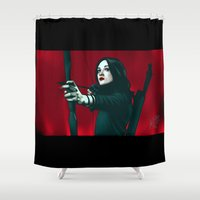 allison argent Shower Curtains featuring Allison - Deep In Red by xKxDx