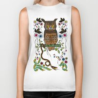 andreas preis Biker Tanks featuring Vibrant Jungle Owl and Snake by famenxt