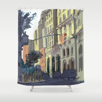 broadway Shower Curtains featuring 73rd & Broadway by Aaron Lampell