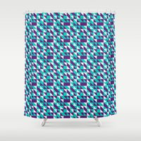 spires Shower Curtains featuring PURPLE TURQUOISE SPIRES  by Oksana Smith