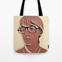 patrick Tote Bags featuring Patrick (STRFKR) by Luis Patino