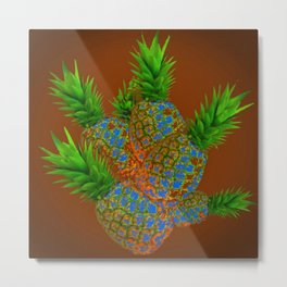 ABSTRACT COFFEE BROWN TROPICAL PINEAPPLES DESIGN Metal Print