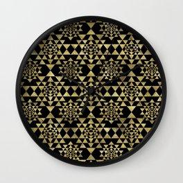 Sri Yantra  / Sri Chakra Pattern - Gold on black Wall Clock