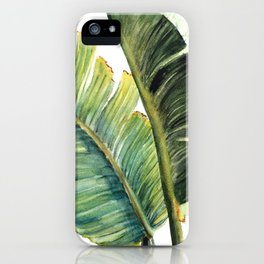 Watercolor Palm Leaves Tropical Art iPhone Case