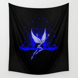 Electric Blue Angel Wall Tapestry