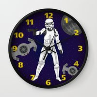 storm trooper Wall Clocks featuring storm trooper by Agentsassy