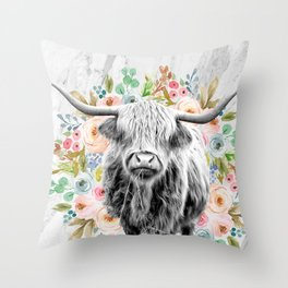 Highland Cow With Flowers on Marble Black and White Throw Pillow