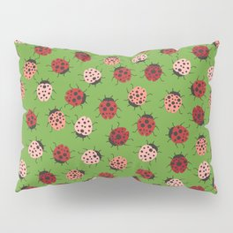 All over Modern Ladybug on Green Background Pillow Sham