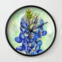 Texas Bluebonnets - Blue and green wildflower art Wall Clock