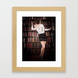 """""""Hot for Reading"""" - The Playful Pinup - Sexy Librarian Pin-up Girl by Maxwell H. Johnson Framed Art Print"""