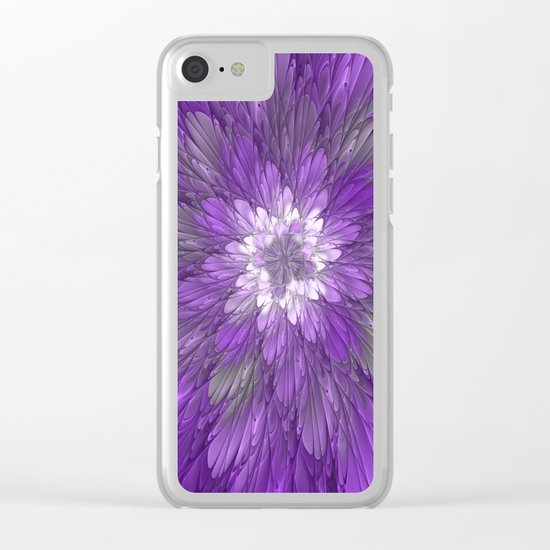 Psychedelic Purple Flower, Fractal Art Clear iPhone Case