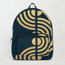 Semi Circle Waveforms - Minimal Geometric Print - Navy, Ivory Backpack