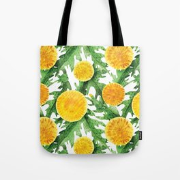 Watercolor Dandelion Pattern in Green and Yellow Tote Bag