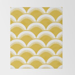 Japanese Fan Pattern Mustard Yellow Throw Blanket