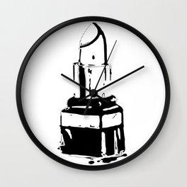 Lipstick makeup black white fashion illustration Wall Clock