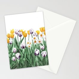 Tulip Watercolor Art, Yellow Flowers Painting, Purple Flowers, Garden Art Stationery Cards