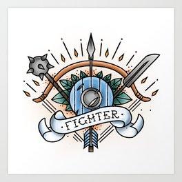 Fighter - Vintage D&D Tattoo Art Print