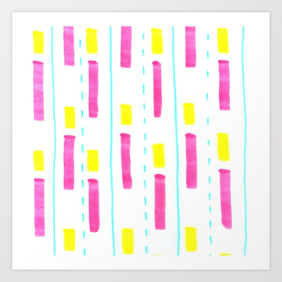 Pink and Lemon Stripes  Art Print