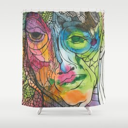 A Face Shower Curtain