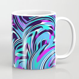 psychedelic spiral painting abstract pattern in blue pink and black Coffee Mug