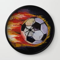 soccer Wall Clocks featuring Soccer by Michael Creese