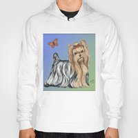 yorkie Hoodies featuring Yorkshire Terrier - Yorkie- by Nina Lyman of Dogs By Nina by Cats and Dogs by Nina Lyman