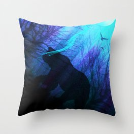 Midnight Grizzly Throw Pillow