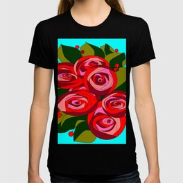 A Bouquet of Big Flowers with a Sky Blue Background T-shirt