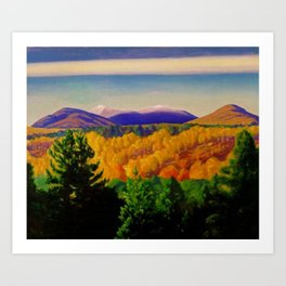 Autumn Mountain Landscape & Orchards by Rockwell Kent Art Print