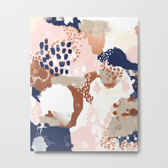 Sonia - rose gold navy copper modern abstract rosegold trendy pattern cell phone accessories Metal Print