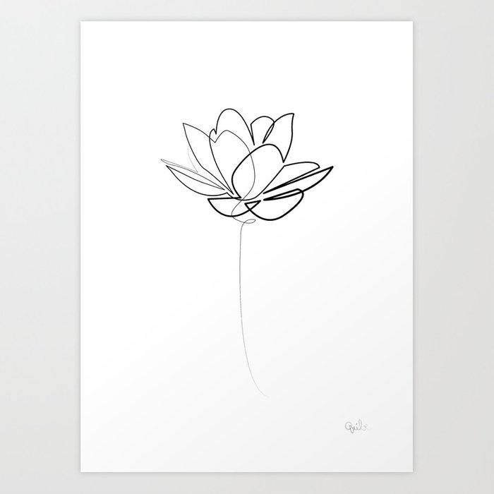 Line Art Lotus : One line lotus b w art print by quibe society