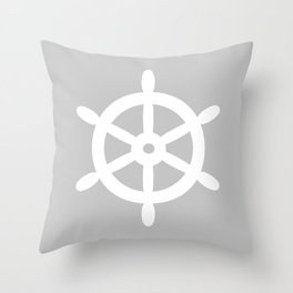 Ship Wheel (White & Gray) Throw Pillow