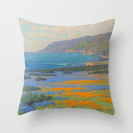 Spring Morning, Poppy and Lupine Flowers, California Coast by John Marshall Gamble Throw Pillow