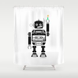 80s Mix Tape Robot - Pascal Shower Curtain