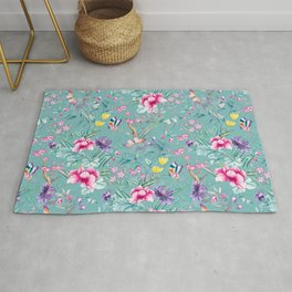 Vintage & Shabby Chic - Chinoserie Pastel Spring Blue Flowers And Birds Garden Rug