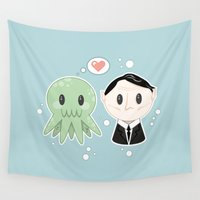 lovecraft Wall Tapestries featuring Lovecraft and Chtulhu by Cloudsfactory