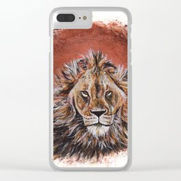 African Lion in Circle Clear iPhone Case