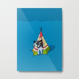 Cow In A Tent Metal Print
