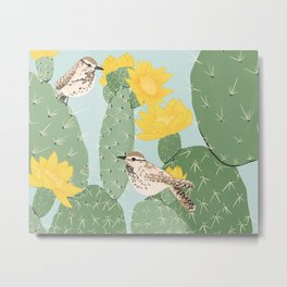 Prickly Pear with Wrens  Metal Print
