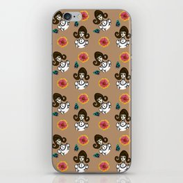 girl with dress beige iPhone Skin