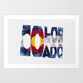 Colorado Typographic Flag Map Art Art Print