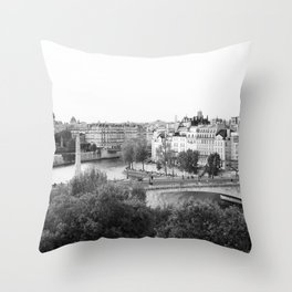 Paris in Black and White, Notre Dame and Les Iles Throw Pillow