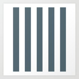 Cadet grey - solid color - white vertical lines pattern Art Print