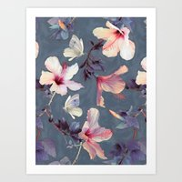garden Art Prints featuring Butterflies and Hibiscus Flowers - a painted pattern by micklyn
