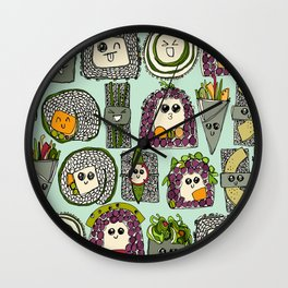 veggie sushi mint Wall Clock
