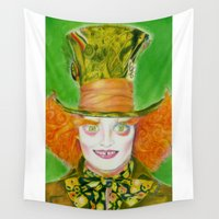mad hatter Wall Tapestries featuring Hatter by Aliece Carney