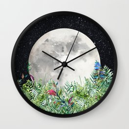 Night Garden Moon Magick Wall Clock